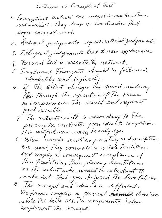 sol lewitt essay This method was fundamental to american artist sol lewitt's definition of conceptual art robert c morgan, art into ideas: essays on conceptual art.